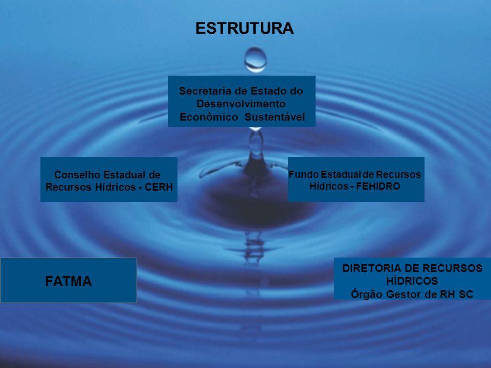 FATMA ESTRUTURA Fundo Estadual de Recursos Hídricos - FEHIDRO DIRETORIA DE RECURSOS HÍDRICOS Órgão Gestor de RH SC Secretaria de Estado do Desenvolvim