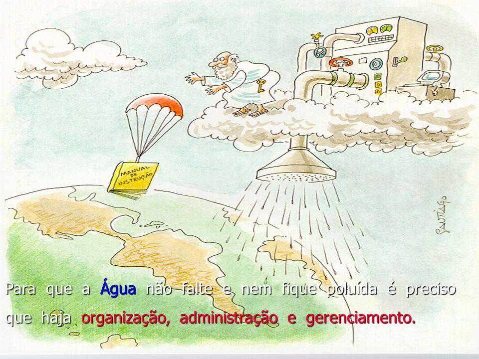 Para que a Água não falte e nem fique poluída é preciso que haja organização, administração e gerenciamento.