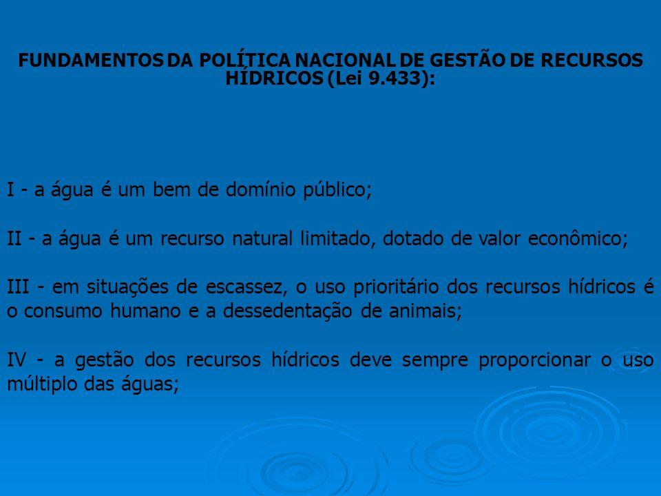 FUNDAMENTOS DA POLÍTICA NACIONAL DE GESTÃO DE RECURSOS HÍDRICOS (Lei 9.433): I - a água é um bem de domínio público; II - a água é um recurso natural