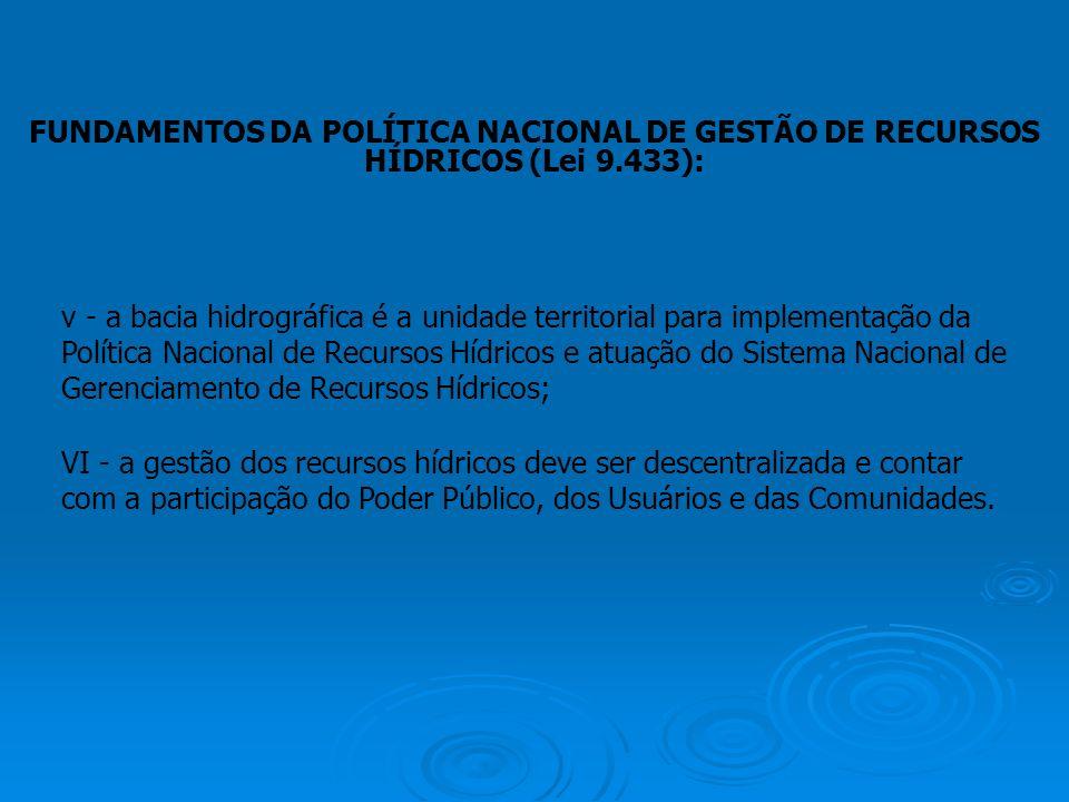 FUNDAMENTOS DA POLÍTICA NACIONAL DE GESTÃO DE RECURSOS HÍDRICOS (Lei 9.433): v - a bacia hidrográfica é a unidade territorial para implementação da Po