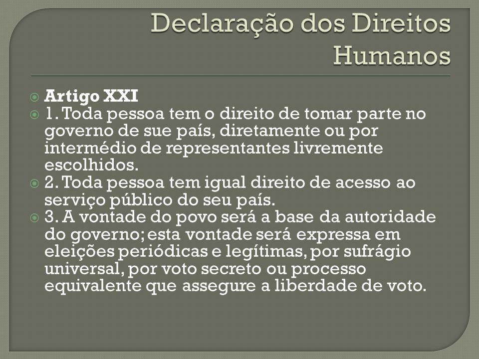 Artigo XXI 1. Toda pessoa tem o direito de tomar parte no governo de sue país, diretamente ou por intermédio de representantes livremente escolhidos.