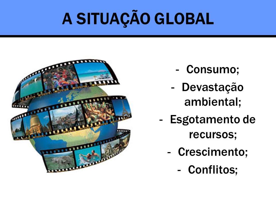 A SITUAÇÃO GLOBAL -Consumo; -Devastação ambiental; -Esgotamento de recursos; -Crescimento; -Conflitos;