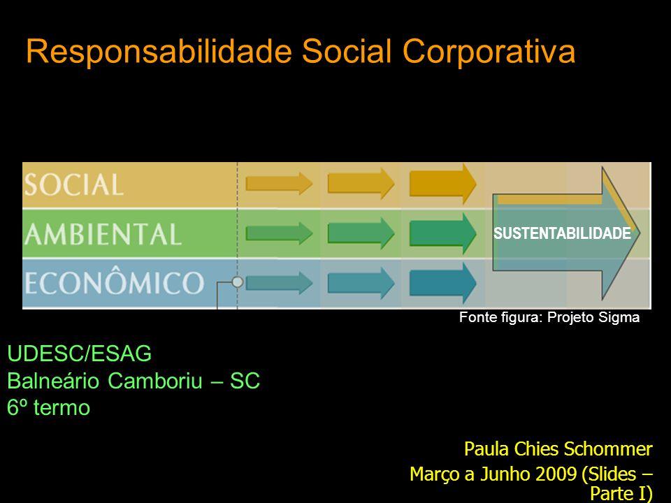 Responsabilidade Social Corporativa Paula Chies Schommer Março a Junho 2009 (Slides – Parte I) UDESC/ESAG Balneário Camboriu – SC 6º termo SUSTENTABIL