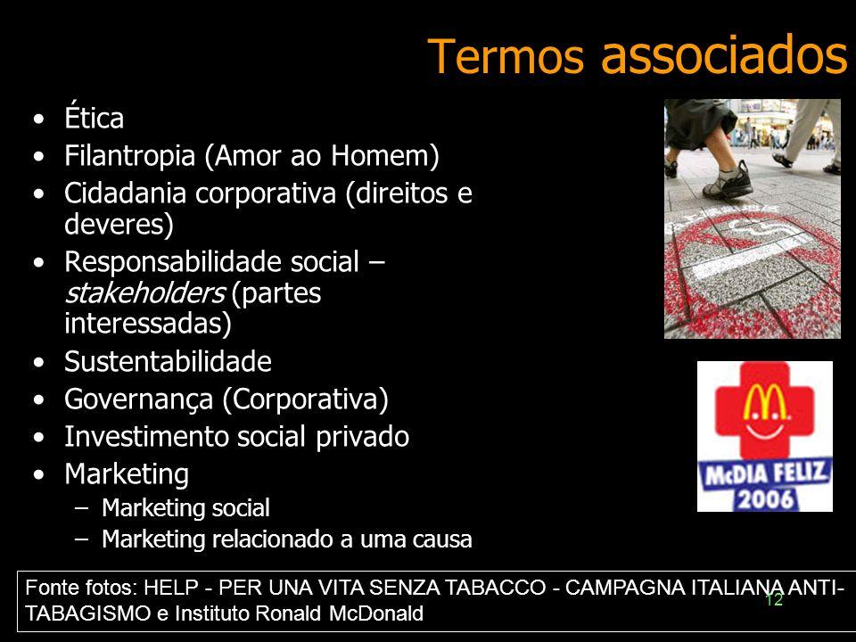 12 Termos associados Ética Filantropia (Amor ao Homem) Cidadania corporativa (direitos e deveres) Responsabilidade social – stakeholders (partes inter
