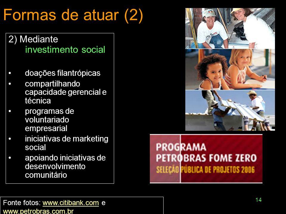 14 Formas de atuar (2) 2) Mediante investimento social doações filantrópicas compartilhando capacidade gerencial e técnica programas de voluntariado e