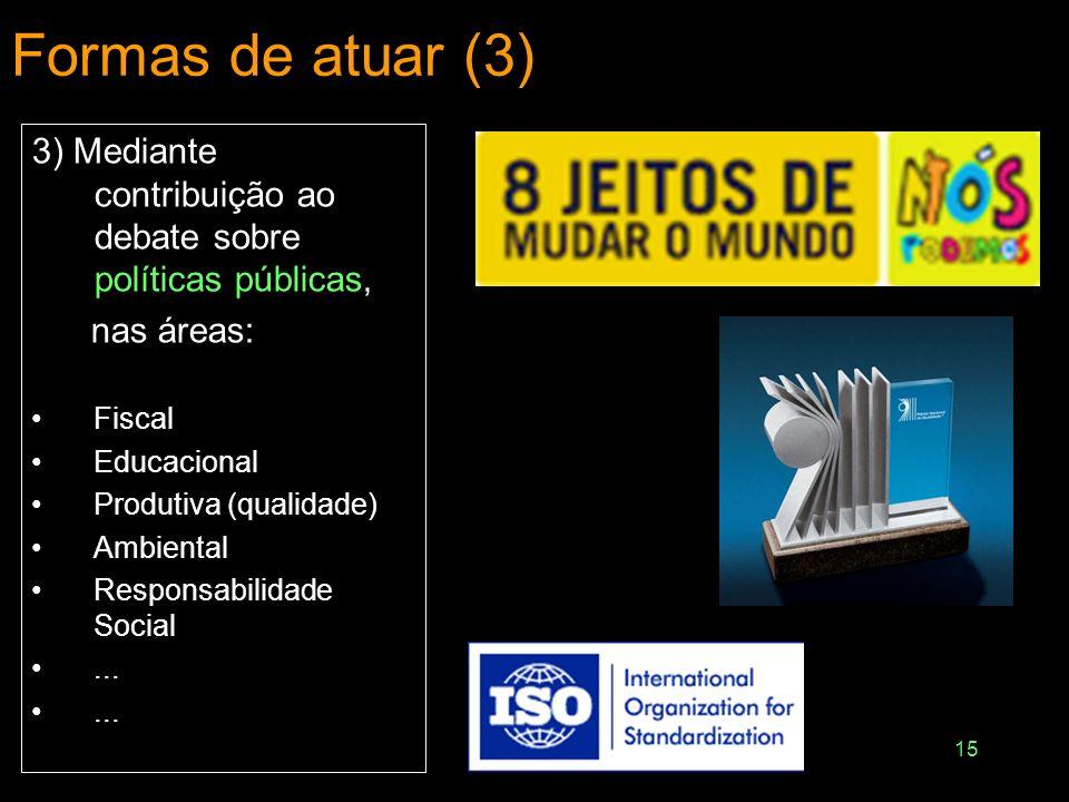 15 Formas de atuar (3) 3) Mediante contribuição ao debate sobre políticas públicas, nas áreas: Fiscal Educacional Produtiva (qualidade) Ambiental Resp