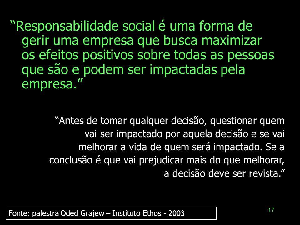 17 Responsabilidade social é uma forma de gerir uma empresa que busca maximizar os efeitos positivos sobre todas as pessoas que são e podem ser impact