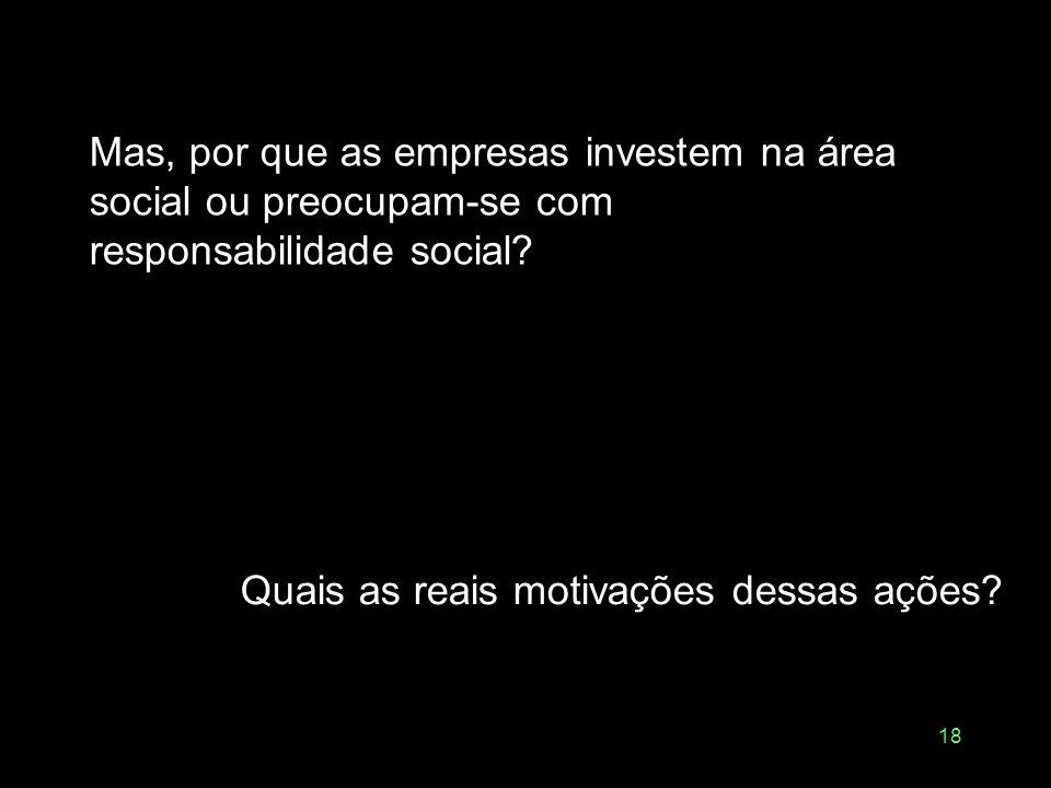 18 Mas, por que as empresas investem na área social ou preocupam-se com responsabilidade social? Quais as reais motivações dessas ações?