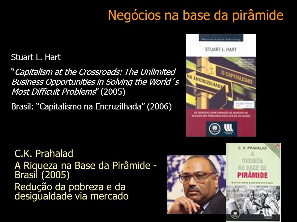 34 Negócios na base da pirâmide Stuart L. Hart Capitalism at the Crossroads: The Unlimited Business Opportunities in Solving the World´s Most Difficul