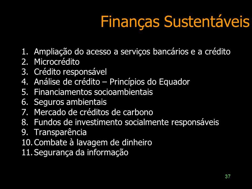 37 Finanças Sustentáveis 1.Ampliação do acesso a serviços bancários e a crédito 2.Microcrédito 3.Crédito responsável 4.Análise de crédito – Princípios