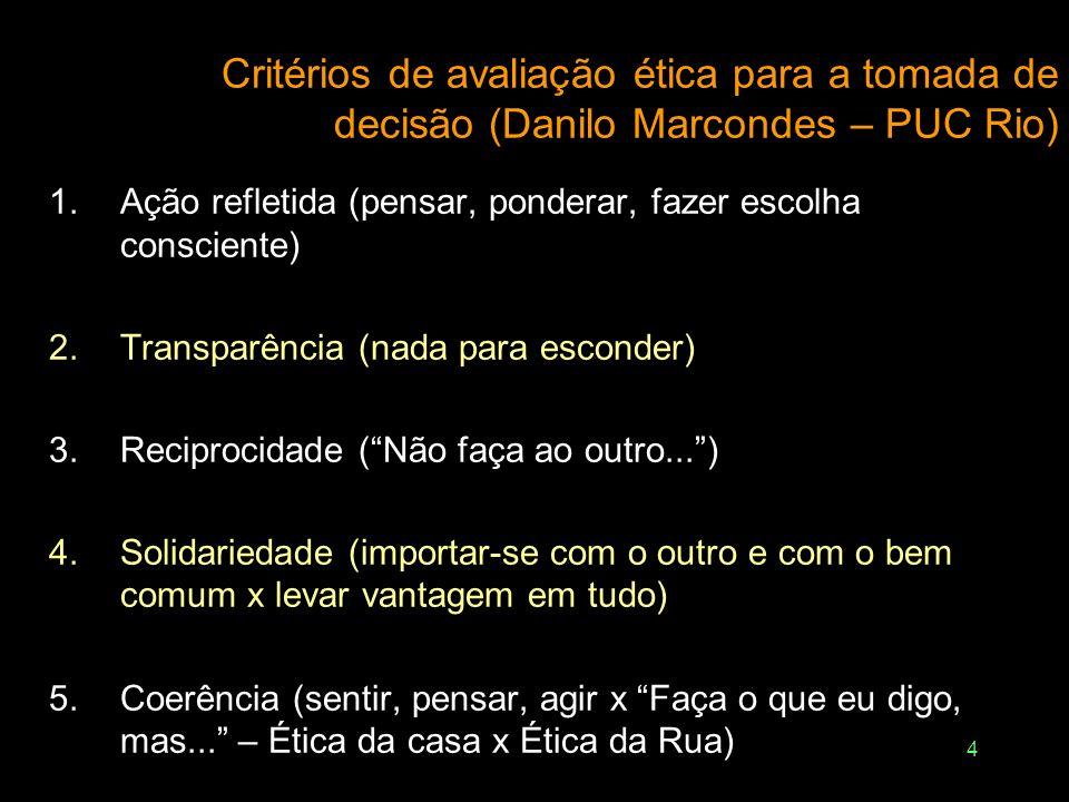 4 Critérios de avaliação ética para a tomada de decisão (Danilo Marcondes – PUC Rio) 1.Ação refletida (pensar, ponderar, fazer escolha consciente) 2.T