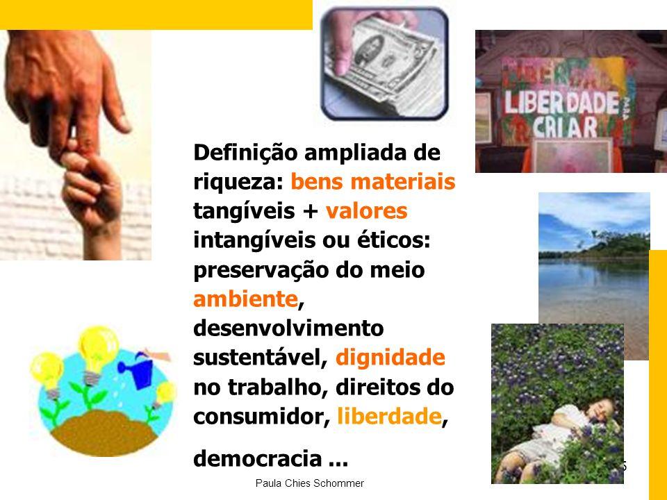 5 Definição ampliada de riqueza: bens materiais tangíveis + valores intangíveis ou éticos: preservação do meio ambiente, desenvolvimento sustentável, dignidade no trabalho, direitos do consumidor, liberdade, democracia...