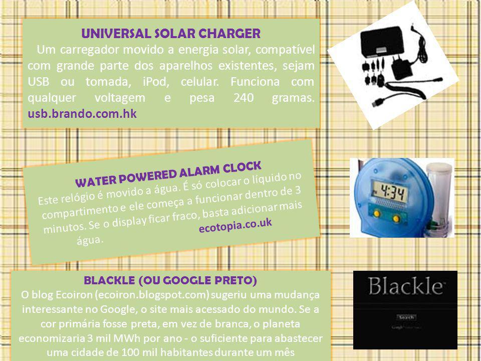 UNIVERSAL SOLAR CHARGER Um carregador movido a energia solar, compatível com grande parte dos aparelhos existentes, sejam USB ou tomada, iPod, celular