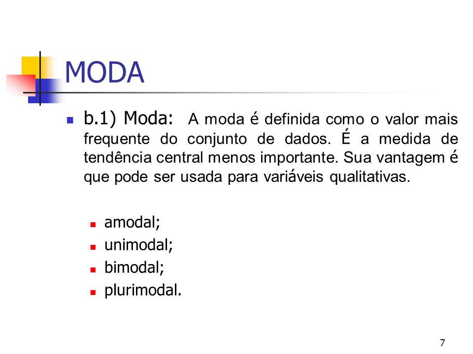 MODA 7 b.1) Moda: A moda é definida como o valor mais frequente do conjunto de dados. É a medida de tendência central menos importante. Sua vantagem é