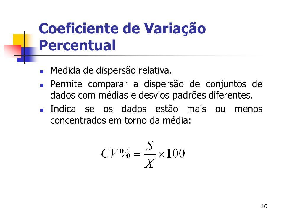 16 Coeficiente de Variação Percentual Medida de dispersão relativa.