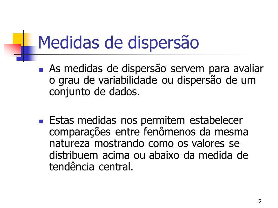 2 Medidas de dispersão As medidas de dispersão servem para avaliar o grau de variabilidade ou dispersão de um conjunto de dados.
