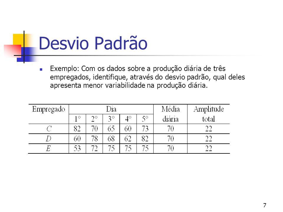 7 Desvio Padrão Exemplo: Com os dados sobre a produção diária de três empregados, identifique, através do desvio padrão, qual deles apresenta menor variabilidade na produção diária.