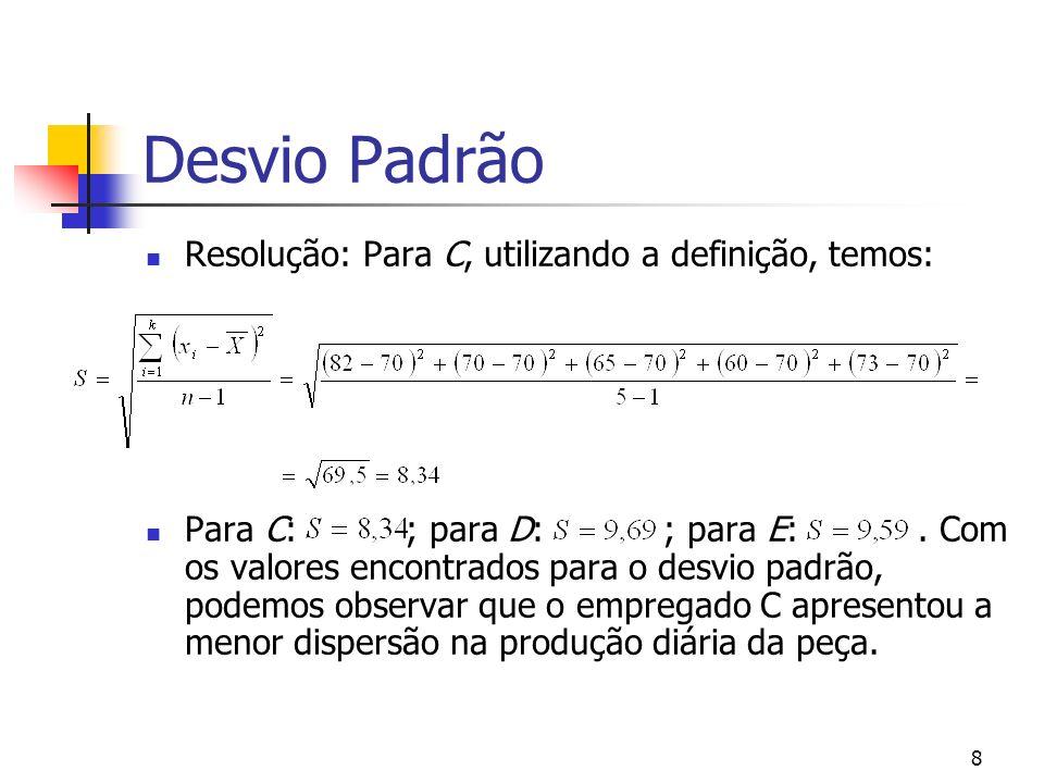 9 Desvio Padrão Desvio padrão ponderado: O desvio ponderado é para dados agrupados em classes onde a freqüência absoluta simples é considerada como o fator ponderador.