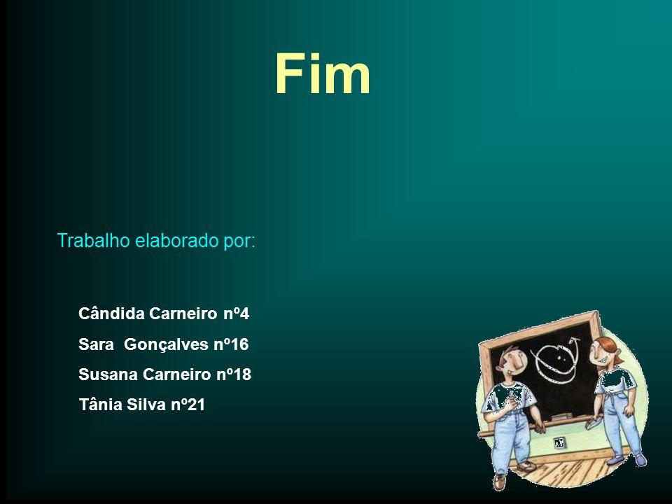 Fim Trabalho elaborado por: Cândida Carneiro nº4 Sara Gonçalves nº16 Susana Carneiro nº18 Tânia Silva nº21