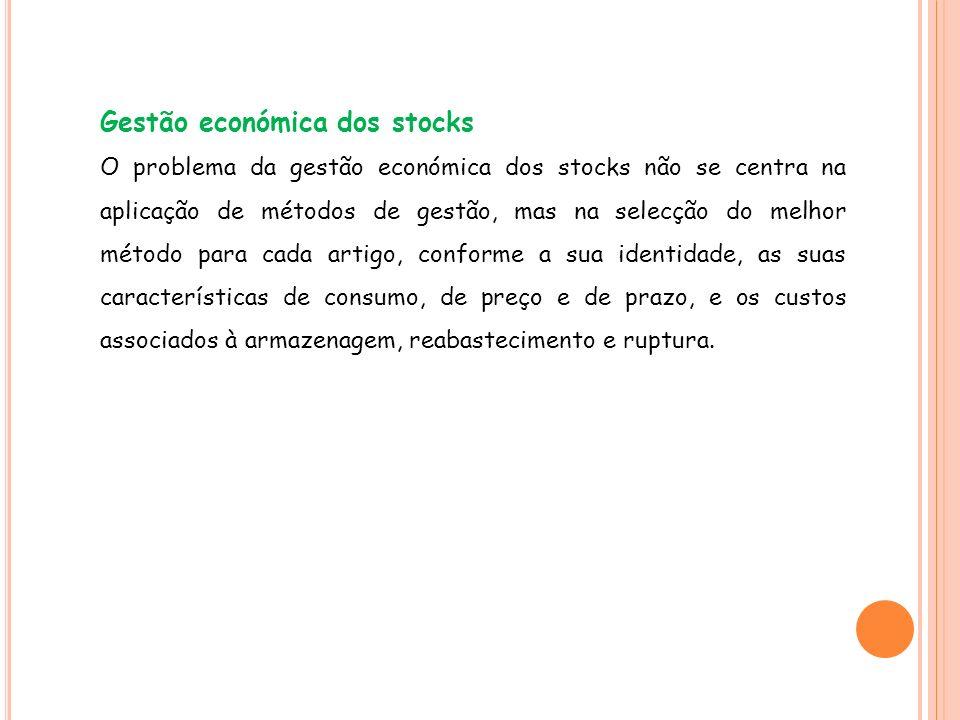 Gestão económica dos stocks O problema da gestão económica dos stocks não se centra na aplicação de métodos de gestão, mas na selecção do melhor métod