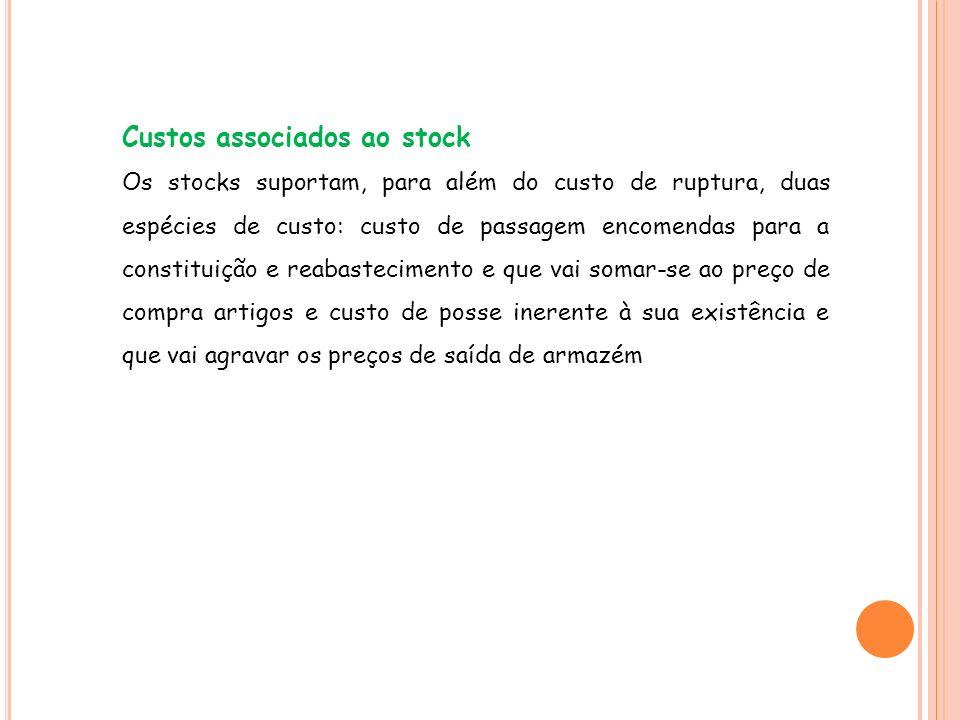 Custos associados ao stock Os stocks suportam, para além do custo de ruptura, duas espécies de custo: custo de passagem encomendas para a constituição