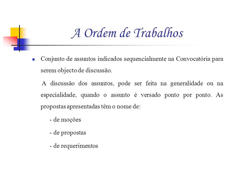 A Ordem de Trabalhos Conjunto de assuntos indicados sequencialmente na Convocatória para serem objecto de discussão. A discussão dos assuntos, pode se
