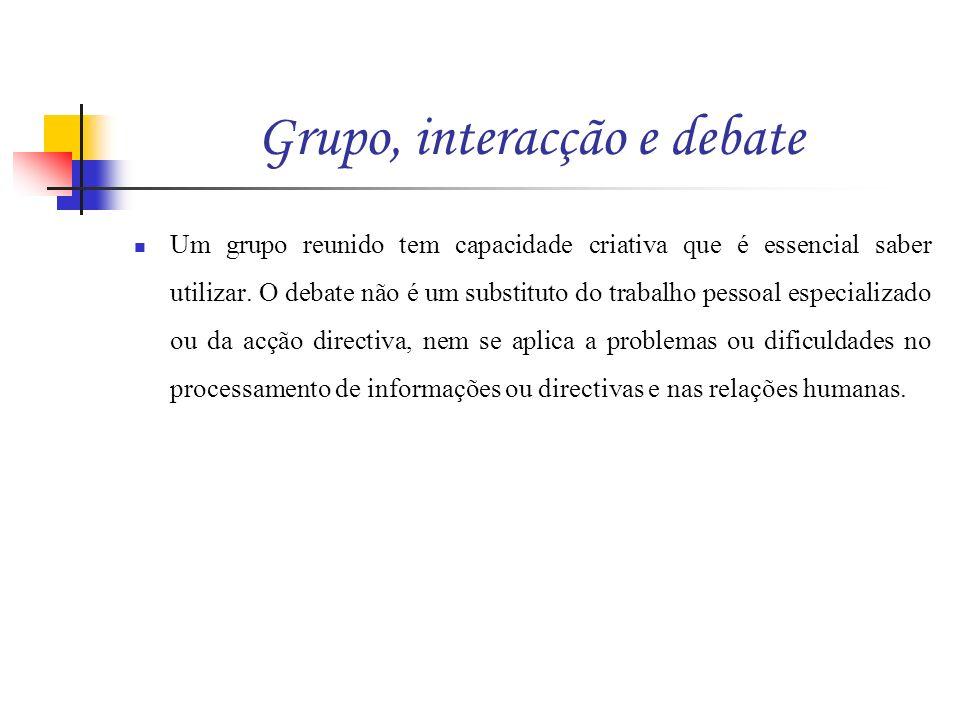 Grupo, interacção e debate Um grupo reunido tem capacidade criativa que é essencial saber utilizar. O debate não é um substituto do trabalho pessoal e