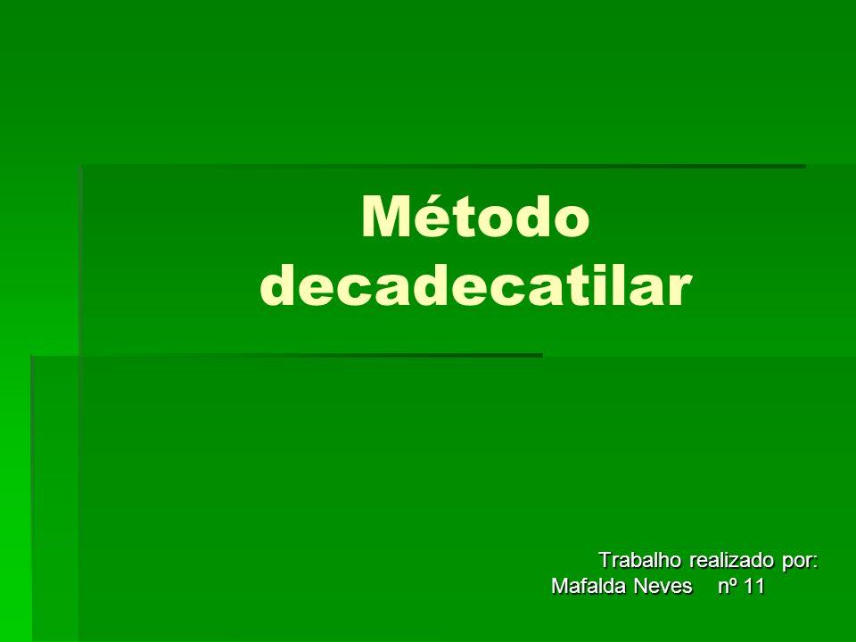 Método decadecatilar Trabalho realizado por: Trabalho realizado por: Mafalda Neves nº 11