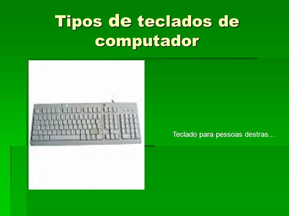 Tipos de teclados de computador Teclado para pessoas destras…