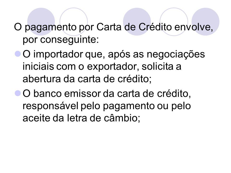 O pagamento por Carta de Crédito envolve, por conseguinte: O importador que, após as negociações iniciais com o exportador, solicita a abertura da car