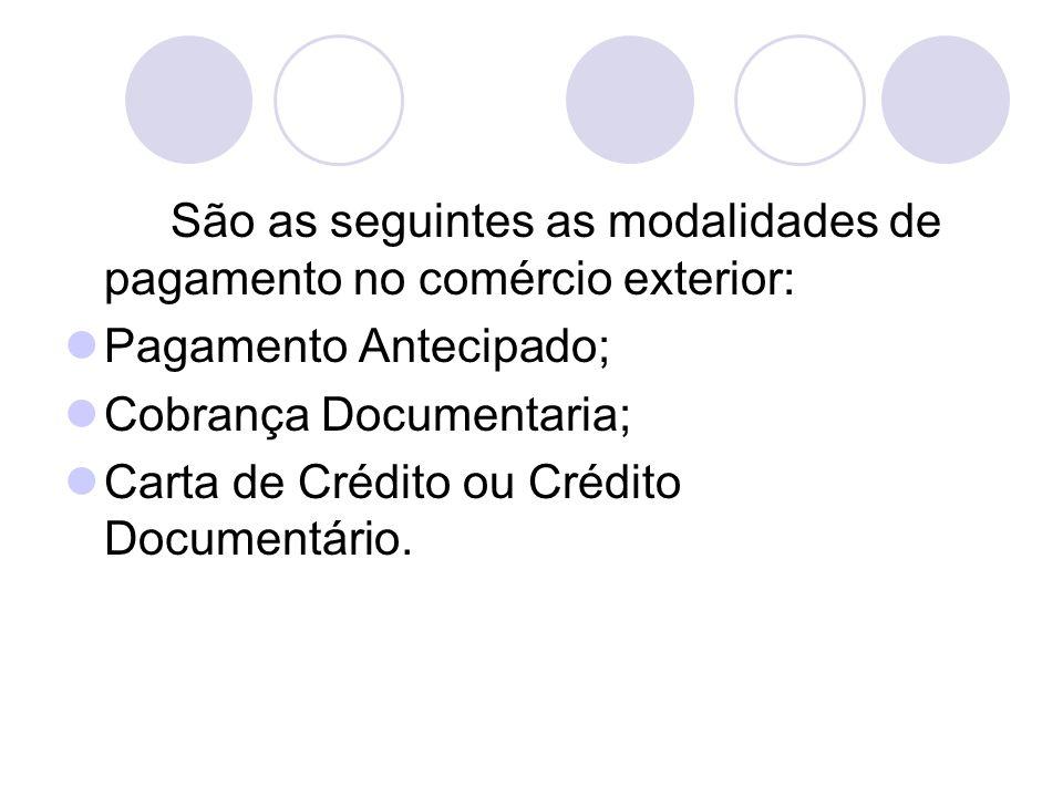 São as seguintes as modalidades de pagamento no comércio exterior: Pagamento Antecipado; Cobrança Documentaria; Carta de Crédito ou Crédito Documentár