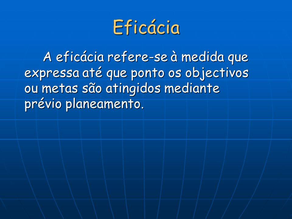 Eficácia A eficácia refere-se à medida que expressa até que ponto os objectivos ou metas são atingidos mediante prévio planeamento.