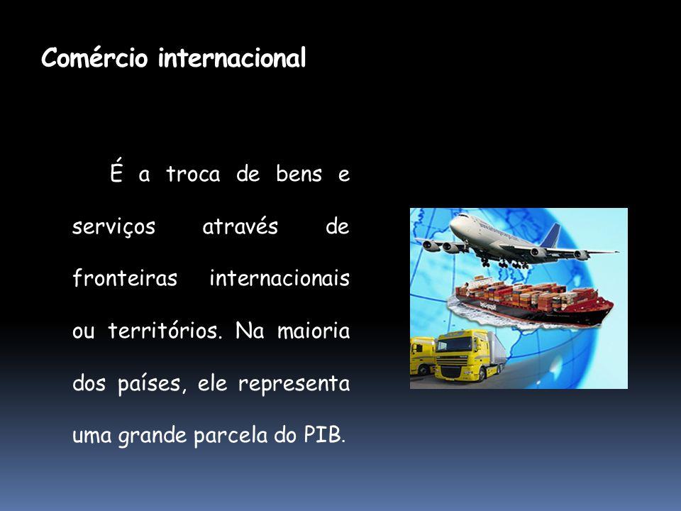 Comércio internacional É a troca de bens e serviços através de fronteiras internacionais ou territórios. Na maioria dos países, ele representa uma gra
