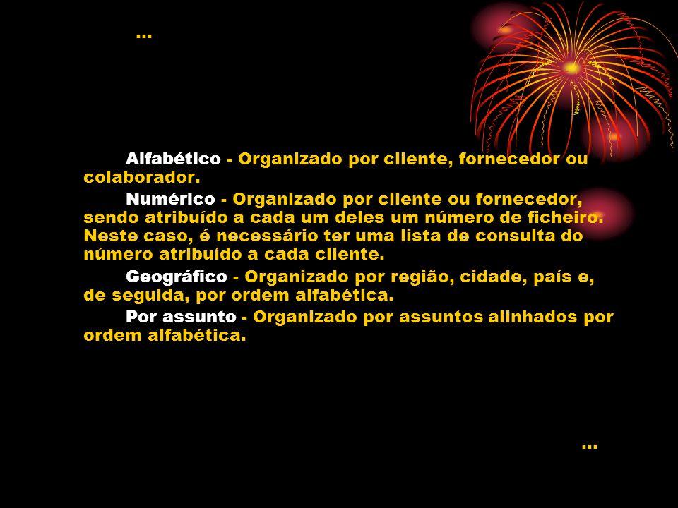 Alfabético - Organizado por cliente, fornecedor ou colaborador. Numérico - Organizado por cliente ou fornecedor, sendo atribuído a cada um deles um nú