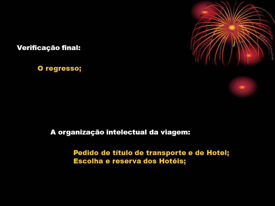Verificação final: O regresso; A organização intelectual da viagem: Pedido de título de transporte e de Hotel; Escolha e reserva dos Hotéis;