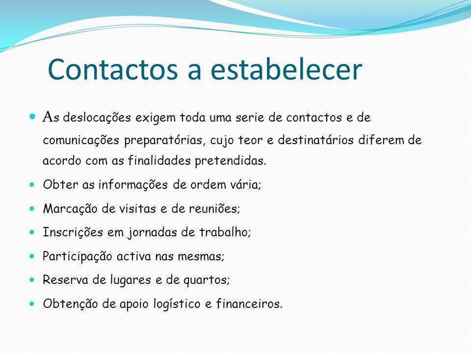 Contactos a estabelecer A s deslocações exigem toda uma serie de contactos e de comunicações preparatórias, cujo teor e destinatários diferem de acord