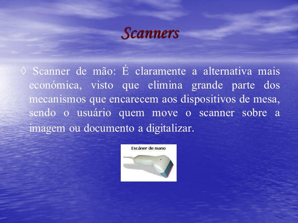 Scanners planos Também chamados de scanners de mesa, são formados por uma superfície plana de vidro sobre a que se situa o documento a digitalizar, geralmente opaco, sob o qual se desloca um braço ao longo da área de captura.