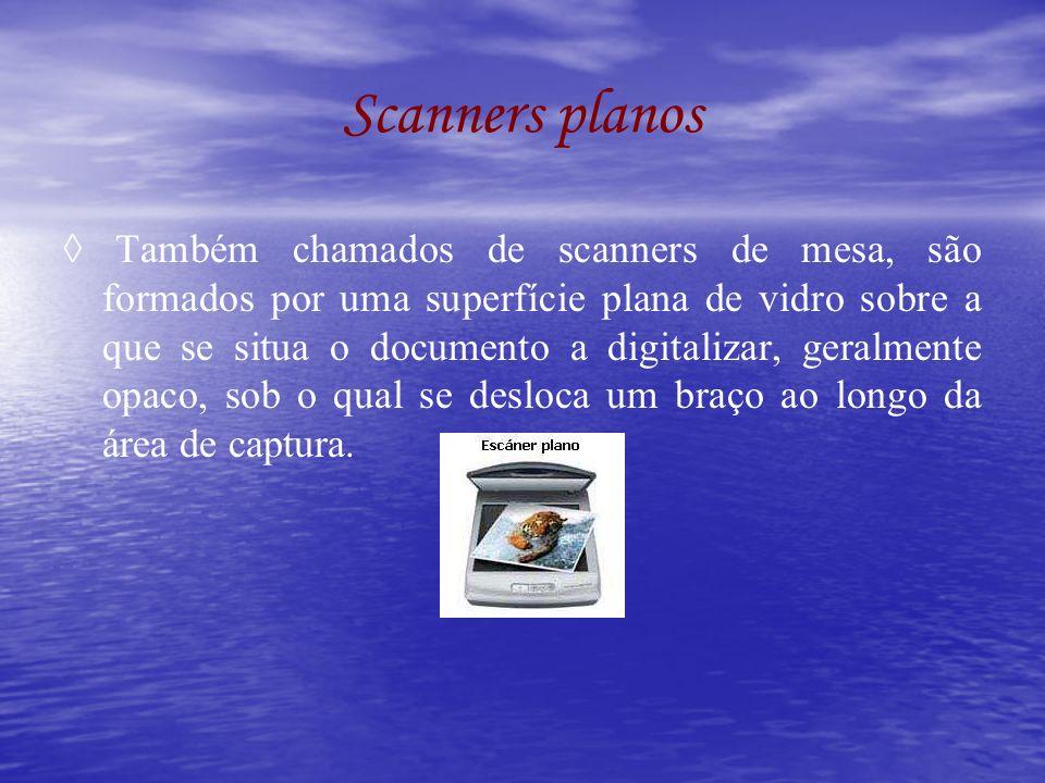 Scanners planos Também chamados de scanners de mesa, são formados por uma superfície plana de vidro sobre a que se situa o documento a digitalizar, ge