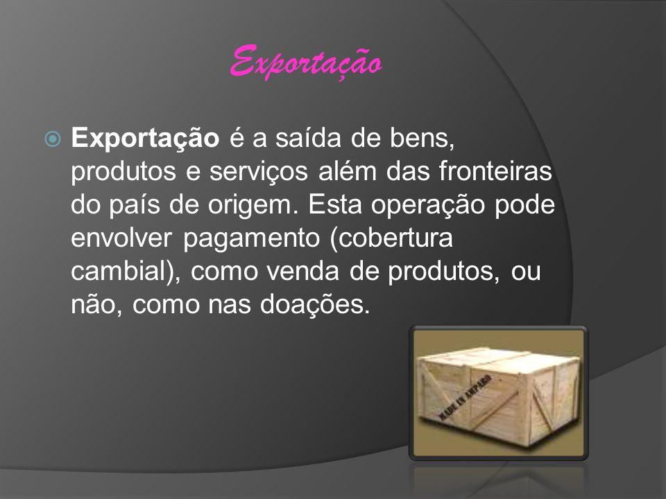 Exportação Exportação é a saída de bens, produtos e serviços além das fronteiras do país de origem. Esta operação pode envolver pagamento (cobertura c