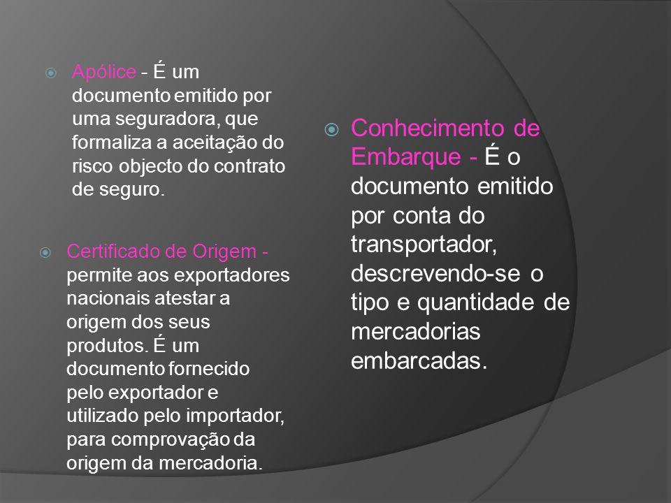 Apólice - É um documento emitido por uma seguradora, que formaliza a aceitação do risco objecto do contrato de seguro. Certificado de Origem - permite