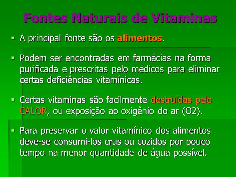 Fontes Naturais de Vitaminas A principal fonte são os alimentos. A principal fonte são os alimentos. Podem ser encontradas em farmácias na forma purif