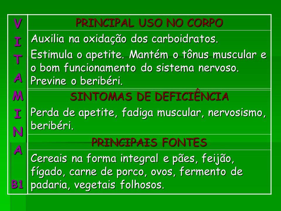 VITAMINAB1 PRINCIPAL USO NO CORPO Auxilia na oxidação dos carboidratos. Estimula o apetite. Mantém o tônus muscular e o bom funcionamento do sistema n