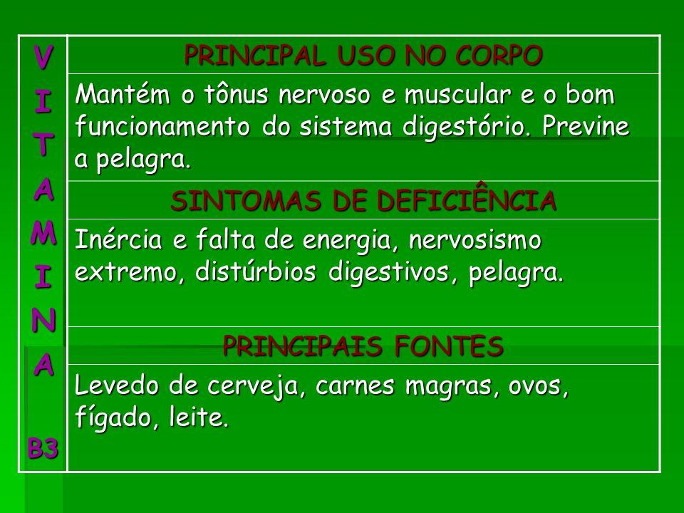VITAMINAB3 PRINCIPAL USO NO CORPO Mantém o tônus nervoso e muscular e o bom funcionamento do sistema digestório. Previne a pelagra. SINTOMAS DE DEFICI