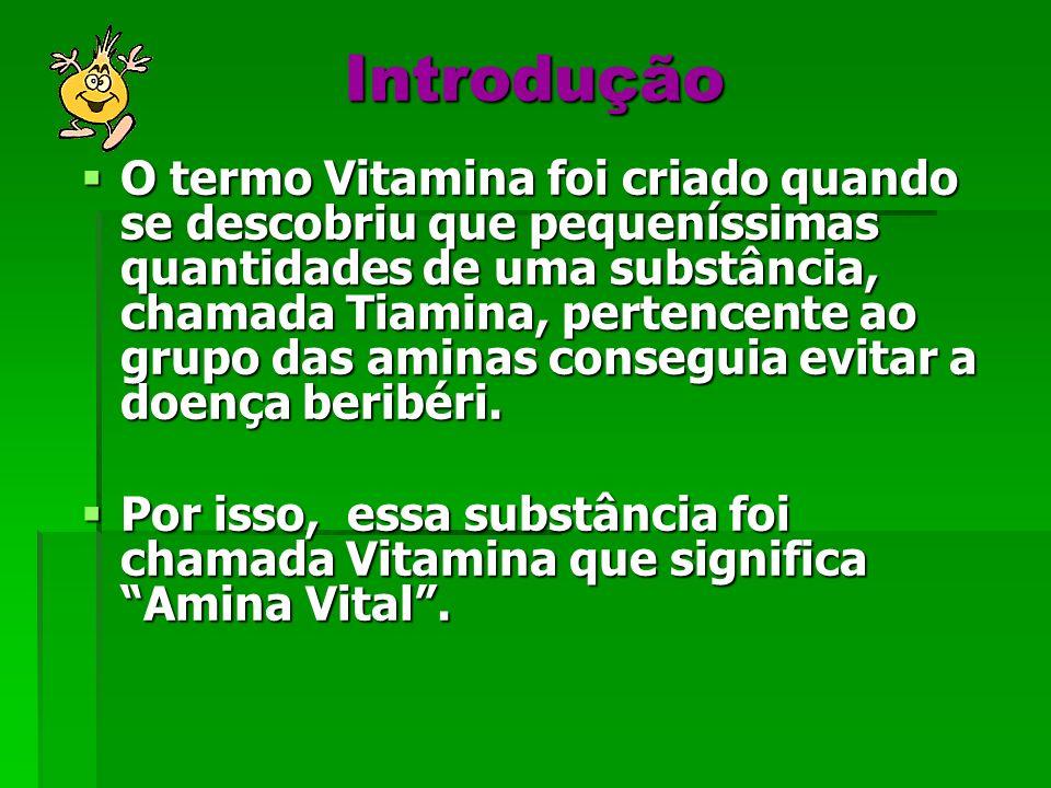 Introdução O termo Vitamina foi criado quando se descobriu que pequeníssimas quantidades de uma substância, chamada Tiamina, pertencente ao grupo das