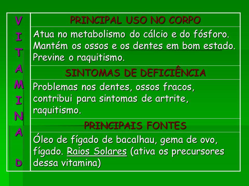 VITAMINAD PRINCIPAL USO NO CORPO Atua no metabolismo do cálcio e do fósforo. Mantém os ossos e os dentes em bom estado. Previne o raquitismo. SINTOMAS