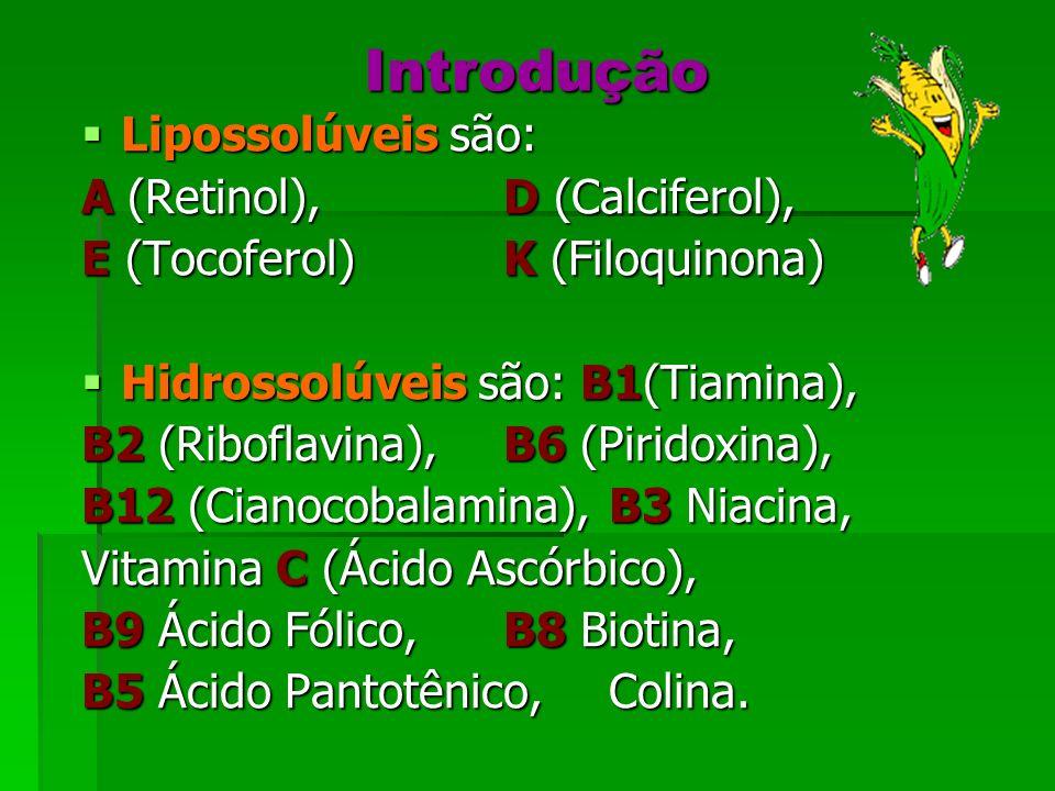 Introdução Lipossolúveis são: Lipossolúveis são: A (Retinol),D (Calciferol), E (Tocoferol) K (Filoquinona) Hidrossolúveis são: B1(Tiamina), Hidrossolú