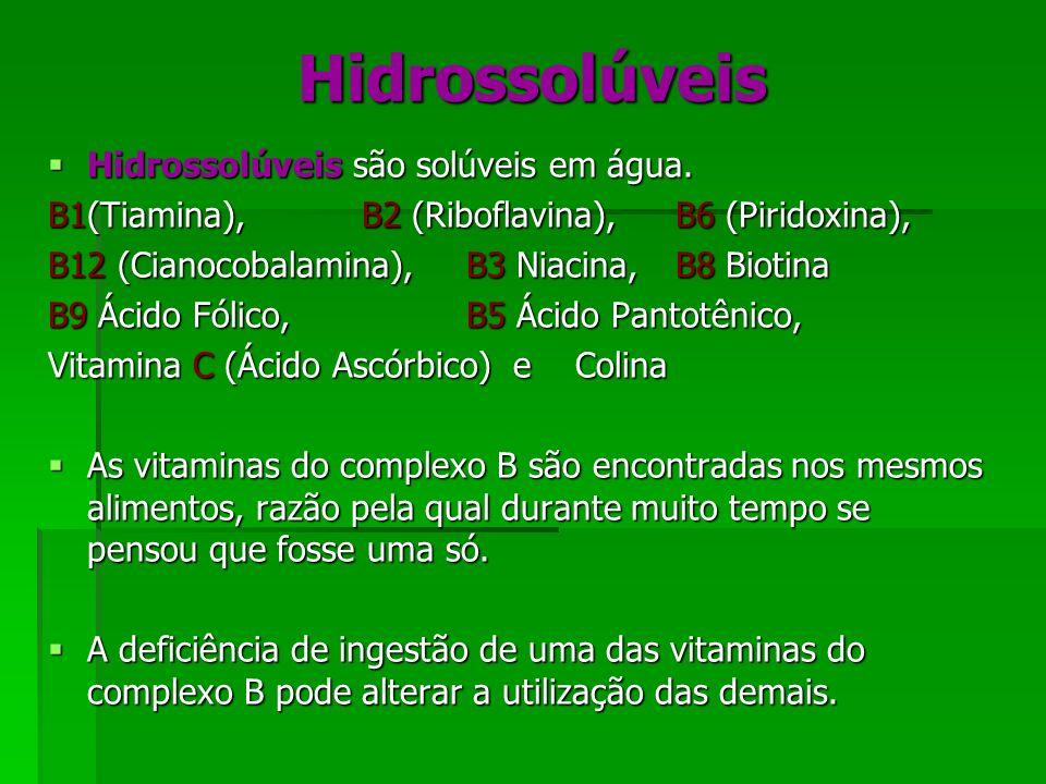 Hidrossolúveis Hidrossolúveis são solúveis em água. Hidrossolúveis são solúveis em água. B1(Tiamina),B2 (Riboflavina),B6 (Piridoxina), B12 (Cianocobal