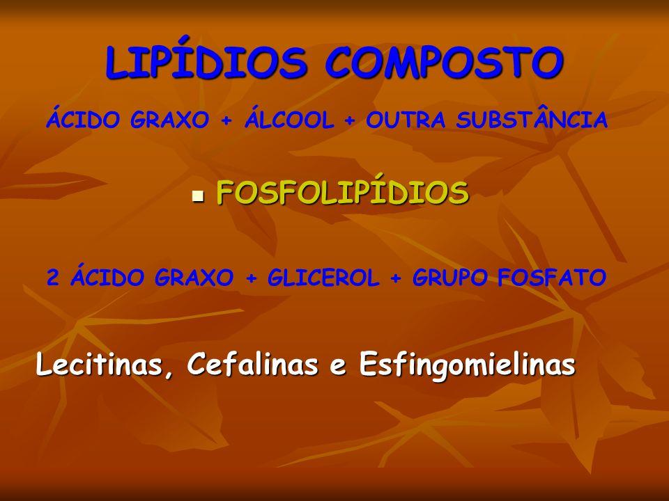 LIPÍDIOS COMPOSTO FOSFOLIPÍDIOS FOSFOLIPÍDIOS Lecitinas, Cefalinas e Esfingomielinas ÁCIDO GRAXO + ÁLCOOL + OUTRA SUBSTÂNCIA 2 ÁCIDO GRAXO + GLICEROL + GRUPO FOSFATO