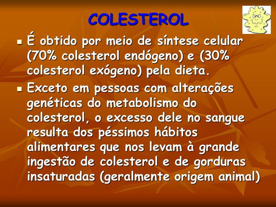 COLESTEROL É obtido por meio de síntese celular (70% colesterol endógeno) e (30% colesterol exógeno) pela dieta. É obtido por meio de síntese celular