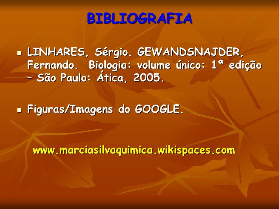 BIBLIOGRAFIA LINHARES, Sérgio. GEWANDSNAJDER, Fernando. Biologia: volume único: 1ª edição – São Paulo: Ática, 2005. LINHARES, Sérgio. GEWANDSNAJDER, F